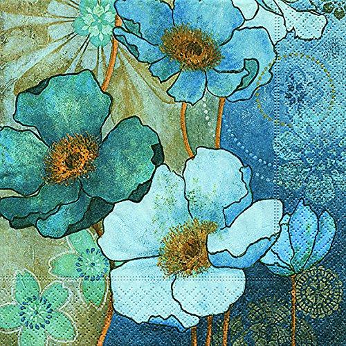 20 Servietten Harmony in Blue - Blaue Harmonie/Blumen 33x33cm