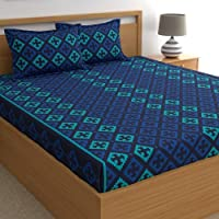 Home Ecstasy 100% Cotton Double bedsheets with 2 Pillow Covers Cotton, 140tc Ethnic Blue bedsheets for Double Bed Cotton…