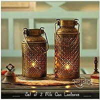 Sadhubela's Set of 2 Milk Can Patterned Diya/Candle Lanterns- Handmade Antique Golden Polished Iron Craft - Height 20 cm & 23 cm