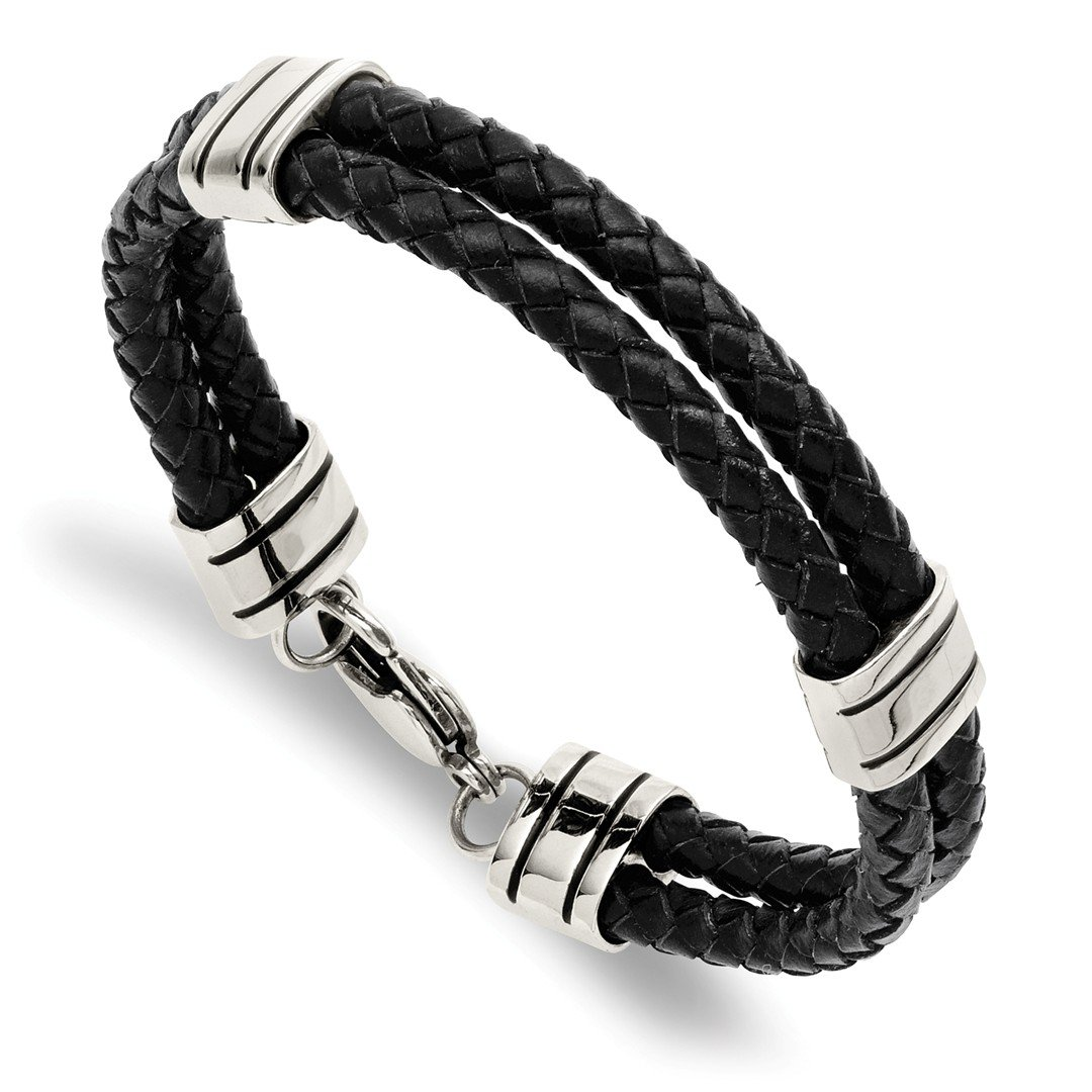 ICE CARATS Stainless Steel Black Leather 9 Inch Bracelet Cord Leatrubber Man Fashion Jewellery for Dad Mens Gifts for Him