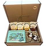Tea Gift Set Hamper Biscuits and Tea Hamper Afternoon Including New English Teas Teabags, Strawberry Jam & Orange Marmalade W