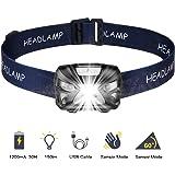 SOONHUA Led-zaklamp, touch-zaklamp, 300 lumen, USB-aansluiting, camping, outdoor, de beste hoofdlamp voor volwassenen en kind