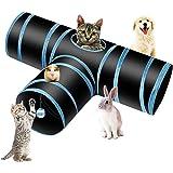 PHYLES Túnel para Gatos, Prima 3 Vías Tubo para Gatos, PET Plegable Divertido Juego Juguete Tubo de Gatos, Juguete con Pompón
