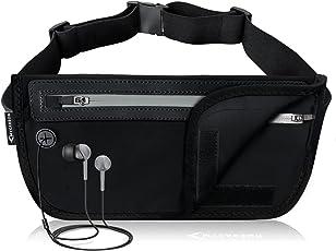 MYCARBON Bauchtasche Flach Reisen Sport Hüfttasche RFID 100% Diebschutz | Klappbar Design | Wasserdicht für 6 Zoll Handhy iPhone 6/ 6s/ 6Plus/ 7 Gürteltasche für Damen Herren