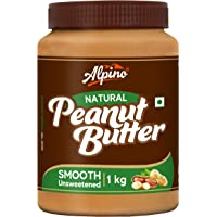 Alpino Natural Peanut Butter Smooth 1 KG | Unsweetened | Made with 100% Roasted Peanuts | No Added Sugar | No Added Salt…
