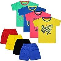 Luke & Lilly Boys Cotton Half Sleeve Tshirt and Shorts - Set of 4(Tshirt and Shorts)