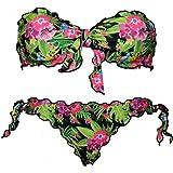 Bikinicolors Bikini Savana pappagalli Donna a Fascia Arricciato con Slip o Brasiliana Made in Italy (XS con Brasiliana (Top 1