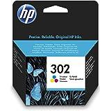 HP 302 F6U65AE, Cartucho de Tinta Original Tricolor, Compatible con impresoras de inyección de tinta HP DeskJet 1110,2130,363