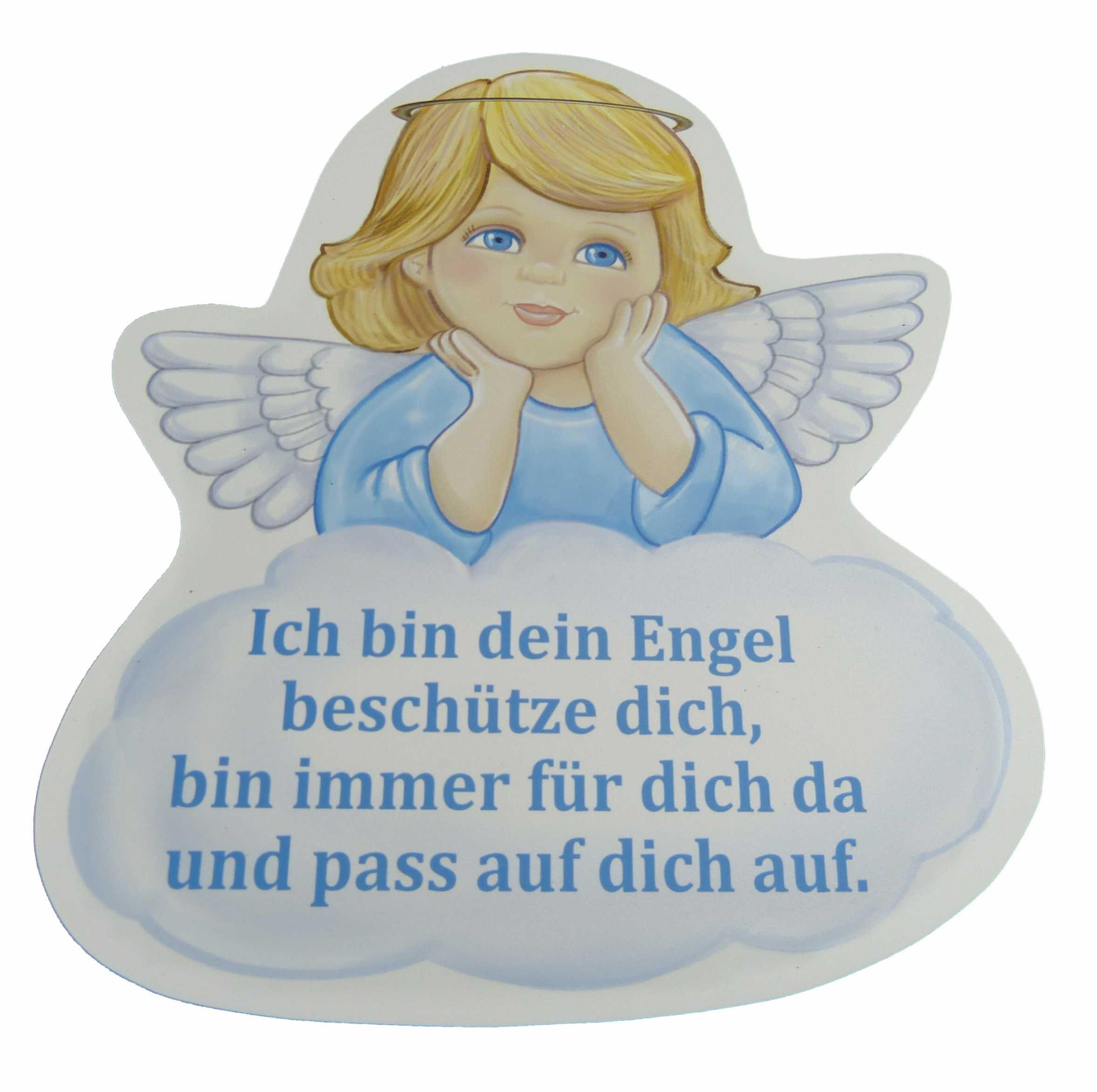 Schutzengel Taufgeschenk für Junge mit Engel in blau und mit Spruch ich pass auf dich auf - Wandbild als Deko für das…