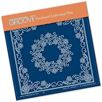 Linda/'s Aquilegia /& Lace Clarity Stamp Groovi Parchment Embossing A5 Square