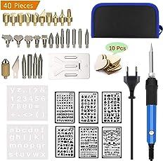 Tian 40 in 1 Professionale Pirografo Legna Kit - Pirografia Legno Kit con 8 stampino 10 Fette di Cuore in Legno - Temperatura Regolabile Riscaldamento Rapido - per Intaglio del Legno, Goffratura, Masterizzazione, Saldatura (60 W)