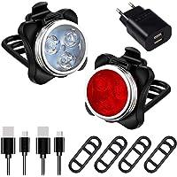 AMANKA Phare Lampe de Vélo Lumière Vélo Rechargeable Avant et Arrière 4 Modes de Luminosité Inclut USB Câble Antichoc…