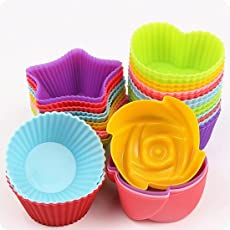 hpk Nonstick and Heat Resistant Microwave Oven Freezer Steamer Safe Silicone Cupcake Moulds, Multicolour, 3-inch