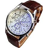 Genossen Luxus-Mode Kunstleder Herren Blue Ray Glas Quartz Analog Uhren Braun