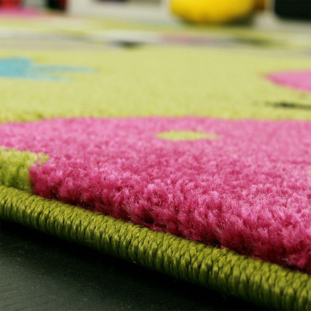 Kinderteppich grün  Amazon.de: Kinder Teppich Schmetterling Design Grün Creme Rot Pink ...