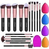 BESTOPE Brochas de Maquillaje 16 piezas Juego de Brochas de Maquillaje Base Sintética en Polvo Corrector Brochas para Rubor y