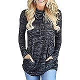 Generic Damen Sweatshirt Top Wasserfallausschnitt Pullover Rollkragen Langarmshirt Tunic Oberteil mit Tasche