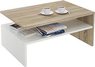 CARO Möbel Couchtisch Wohnzimmertisch Beistelltisch Paulina In Sonoma Eiche/ Weiß Mit Ablagefach 90 X