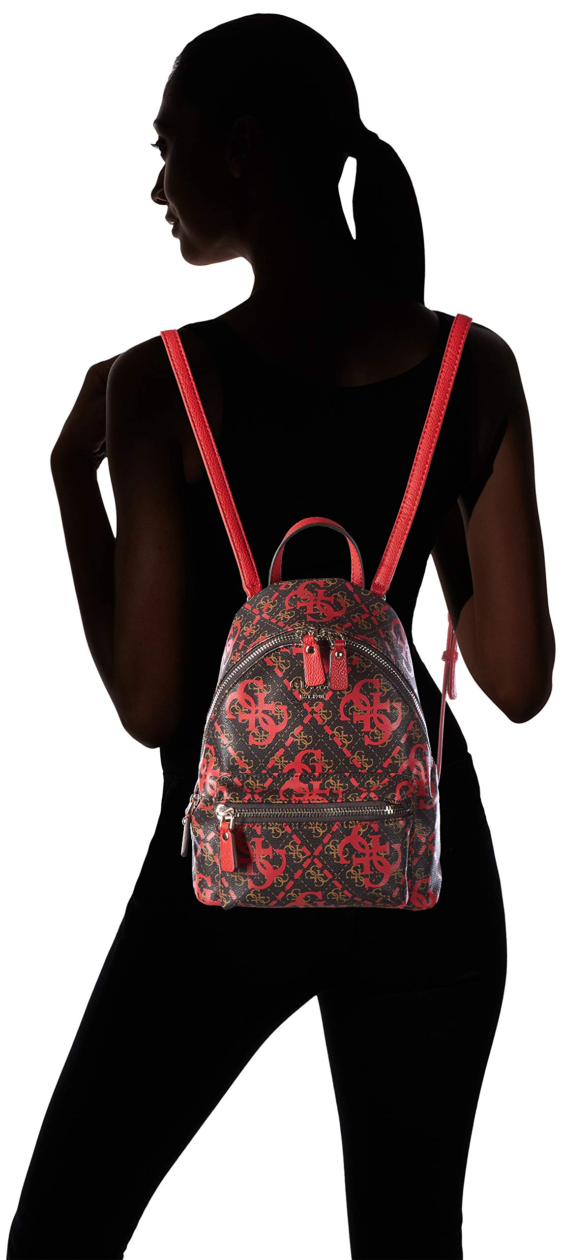 71O94w7ouLL - Guess - Leeza Backpack, Mujer, Multicolor (Red Multi), 22x29x10.5 cm (W x H L)