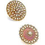 Zaveri Pearls Combo of 2 Ethnic Meenakari & Kundan Adjustable Finger Rings For Women-ZPFK10225