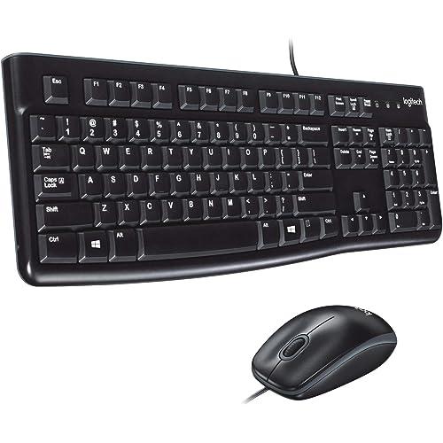 Logitech MK120 Kit Tastiera e Mouse Cablati per Windows, Mouse Ottico, Plug-and-Play USB, Layout Standard, PC/Laptop, Layout Italiano QWERTY, Nero