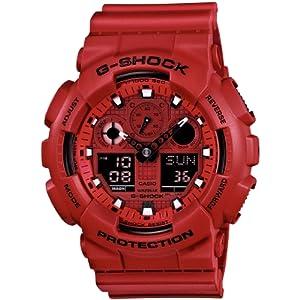 Reloj Casio GA-100C-4AER y digital de cuarzo para hombre con correa de resina, color rojo de Casio