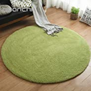 Simplicity Round Area Rug, Modern Soft Non Slip Machine Washable For Living Room Dining Hall Bedroom Hallway Porch Mat-green