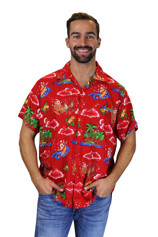 Christmas Hawaiian Shirts.King Kameha Original Funky Hawaiian Shirt Men Xs 6xl Short Sleeve Hawaii Print Christmas X Mas Santas Various Designs Christmas