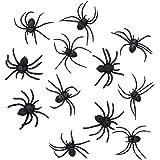 Boland 10101836 Set of 12 fake spiders (8 cm), black, Taglia Unica