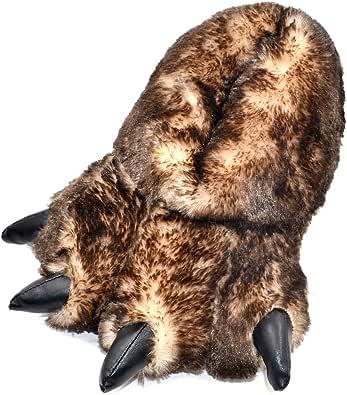 Millffy Pantofole Divertenti Orso Grizzly Peluche Peloso Artiglio Zampa Pantofole Bambini, Bambini e Adulti Costume Calzature