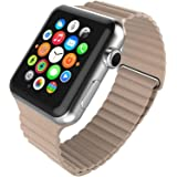 eWINNER Leather Loop Magnetic Band replacement strap Genuine Leather Magnetic Lock Loop Band Strap compatible with Apple watc