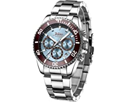 Mens Watches Chronograph Stainless Steel Waterproof Date Analog Quartz Watch Business Casual Fashion Wrist Watches for Men