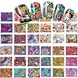 Blue Vessel 44 pcs Colorful Drawings Water Transfer Decals Nail Art Nail Stickers Tips Wraps Manicure