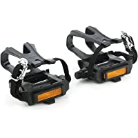 zonkie Bicycle Cycling Bike Pedals with Clips and Straps, Plastic Bicycle Pedals for Spin Bike, Exercise Bike, MTB and…