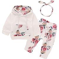 puseky Nouveau-né bébé Fille Manches Longues Floral Sweat à Capuche Tops + Pantalons Vêtements Tenues