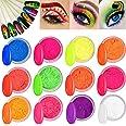 Kalolary 12 dozen neon kleur nagel poeder pigment nagel poeder, kleurrijke fluorescerende poeder acryl nail art gradiëntpoede