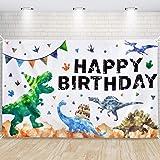 Fondo de Cumpleaños de Dinosaurios - Decoración para Fiestas de Dinosaurios para Niños 185 x 110cm Fotografía al Aire Libre S