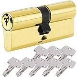BETOY - Cilindro per porta con pomello serratura con chiave,con chiave, Oro, elemento sostitutivo resistente al trapano, disp