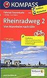 Rheinradweg 2, Von Mannheim nach Köln: Fahrrad-Tourenkarte. GPS-genau. 1:50000.: Fietsroutekaart 1:50 000 (KOMPASS-Fahrrad-Tourenkarten, Band 7012)