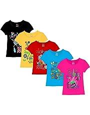 Kiddeo Girl's Cotton T-Shirt - Pack of 5