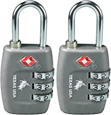 Texas USA Metal TSA Locks (Dark Grey, Emztsa335drkgrey-2) - Set of 2