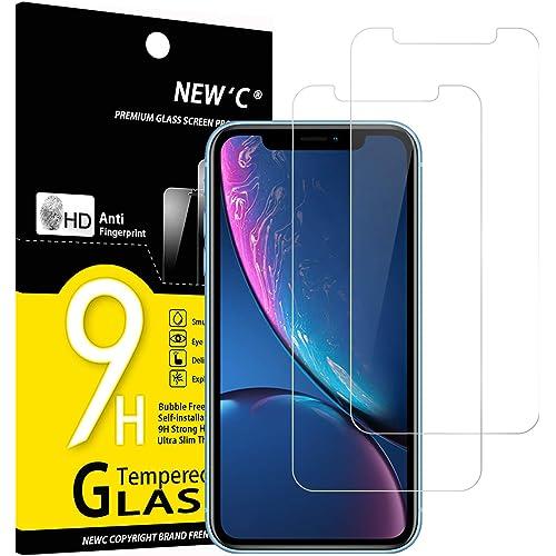 """NEW'C 2 Pezzi, Vetro Temperato Compatibile con iPhone 11 e iPhone XR (6.1""""), Pellicola Prottetiva Anti Graffio, Anti-Impronte, Durezza 9H, 0,33mm Ultra Trasparente, Ultra Resistente"""