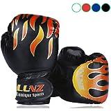 Luniquz Kinder Boxhandschuhe mit Klettschluss Klein Box-Handschuhe für Kinder von 3-10 Jahre Training Gloves 6 Unzen zum MMA, Muay Thai, Kickboxen und Sandsack Sport - Rot/Schwarz/Blau/Weiß