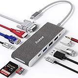 Aceele Hub USB C, 11-en-1 Adaptador USB C a HDMI VGA, 2 USB C (Datos & PD), USB 3.0/USB 2.0, RJ45 Ethernet, Lector de tarjeta