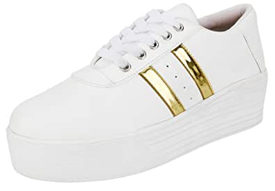 Buy Maddy White Gold Sneaker Shoes for
