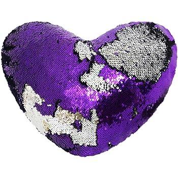 Trlyc Mermaid Pillow Case 13x15 Heart Shaped Magic Reversible
