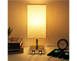 Touch Control Table Lamp , Seealle USB Touch Lamp with 2 USB Charging Ports,3 Way Dimmable Beside Table Lamp, Modern Touch La