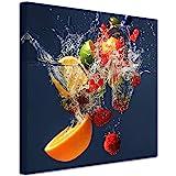 DECLINA Tableau Cadre carré de Fruits - Impression sur Toile décoration Murale - Déco Maison, Cuisine, Salon, Chambre Adulte