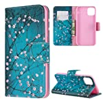 جراب iPhone 11 Pro Max Case, Mavis's Diary Blue Kapok Pattern Pattern PU Leather مزود بمشبك مغناطيسي وحامل لبطاقة...