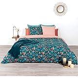 CÔTE DECO Parure de lit avec Housse de Couette 220x240 cm + 2 Taies d'oreiller 63x63cm Parure de lit pour 2 Personnes Fleurs
